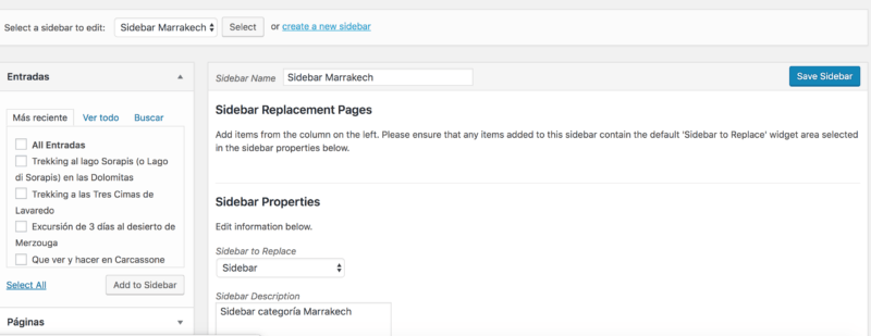 Theme Sidebars WordPress
